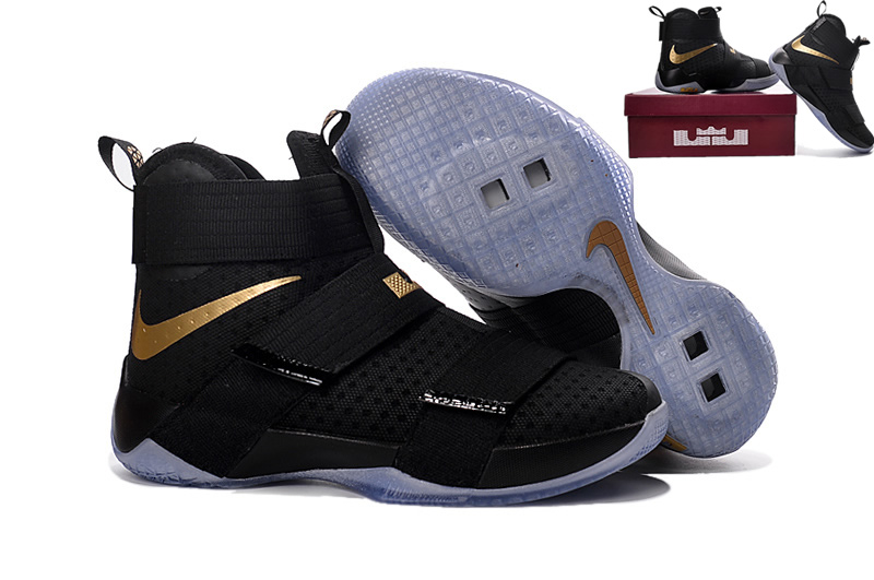 super cute 80497 81c42 Nike Zoom LeBron Soldier 10 Black Glod Mens Nike Lebron James Basketball  Shoes SD3