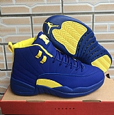 Air Jordans 12 Retro Blue Yellow 2018 Mens Air Jordans 12s Basketball Shoes XY188,baseball caps,new era cap wholesale,wholesale hats
