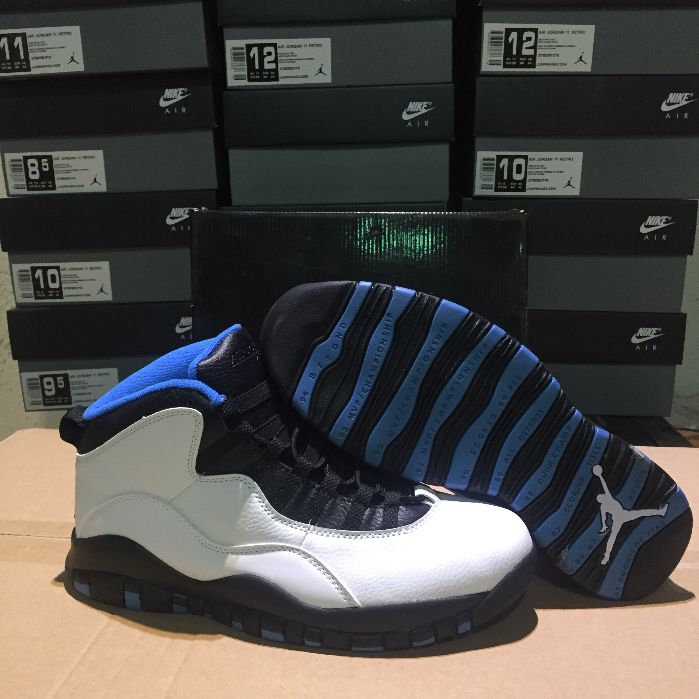 sale retailer bfae6 72cdf Air Jordan retro 10 White Black Blue 2018 Air Jordans Retro 10s Basketball  Shoes XY8 - Getfashionsstore.