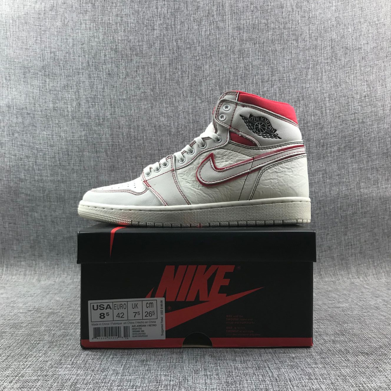 more photos b0962 265e0 Air Jordan 1 Retro High OG Phantom White Red Girls Womens Retro Jordans 1s  Shoes SD7 - Getfashionsstore.